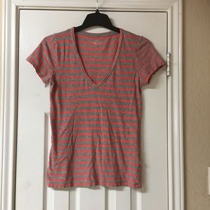 J.Crew Grey & Coral Striped Tee